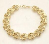 """8"""" Diamond Cut Interlocked Woven Link Bracelet Lobster Lock Real 18K Yellow Gold"""