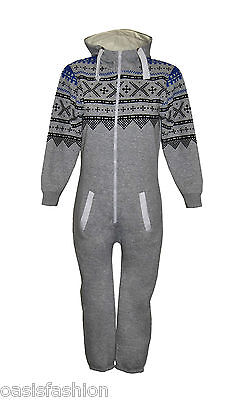 KIDS BOYS GIRLS AZTEC & PLAIN HOODED ONESIE ALL IN ONE JUMPSUIT SIZE 2-14YRS