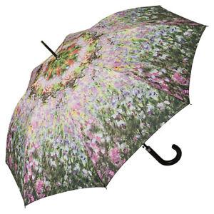 Regenschirm-Automatik-Damen-Motiv-Blumen-lila-flieder-Maler-Claude-Monet-Garten