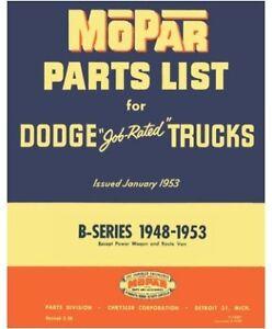 illustrated mopar factory parts manual for 1948 1953 dodge b series rh ebay com dodge grand caravan parts manual dodge caravan 2007 parts manual