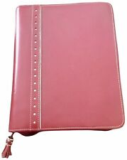 Franklin Covey Classic Planner Binder 15 Ring Red Leather Tan Accents Extras