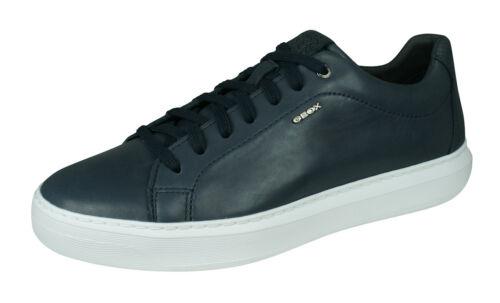 Geox U deiven B Homme En Cuir Baskets Casual Fashion Shoes Blanc Marine-SOLE