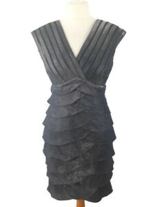 Adrianna-Papell-Sz-8-UK-10-12-Silver-Grey-Fitted-Dress-Party-Cruise-Flattering