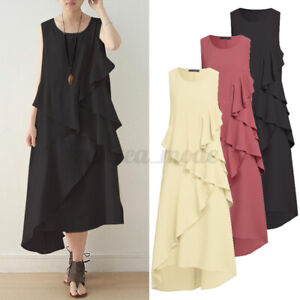 UK-Women-Summer-Beach-Ruffles-Dress-Sleeveless-Wrap-O-Neck-Long-Maxi-Dresses
