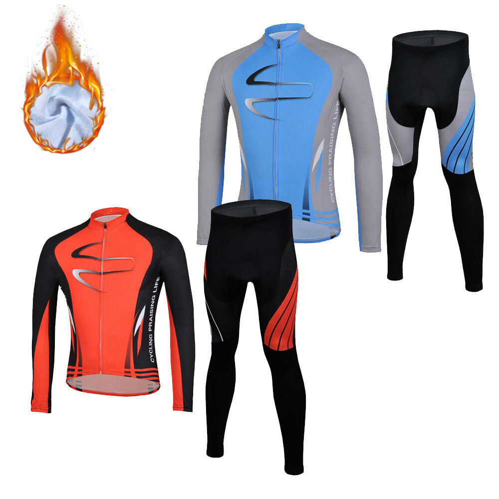 Thermal Winter Bicycle Clothing Mens Fleece Cycling Jersey Long Sleeve Pants Kit