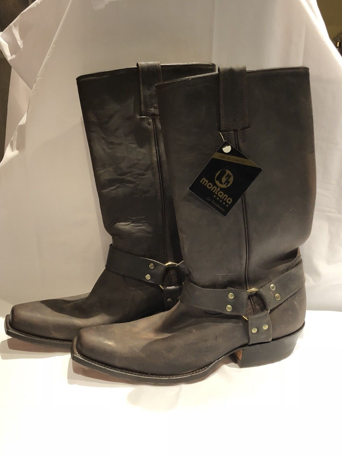 MONTANA mens Roper Style Leather Cowboy Boots Size 9