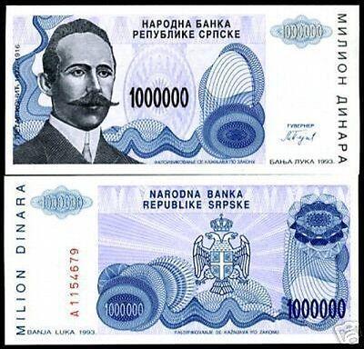 BOSNIA HERZEGOVINA 1000000 1,000,000 DINARA 1993 UNC P-152 PREFIX A