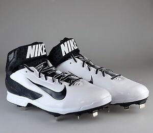 38e5966df1 NEW Nike Huarache Pro Mid White Black Baseball Metal Cleats 559235 ...