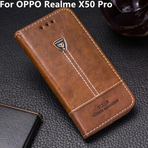 Lujo Cuero Funda de Teléfono Abatible Billetera De pie Cubierta De Piel Para OPPO Realme X50 Pro