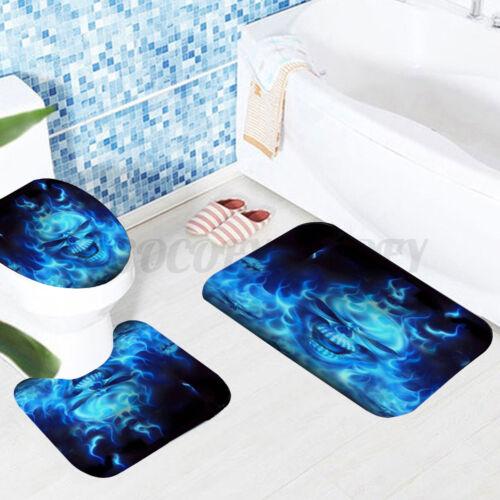 4pcs Halloween Skull Bathroom Shower Curtain Bath Floor Mat Rug Toilet Cover