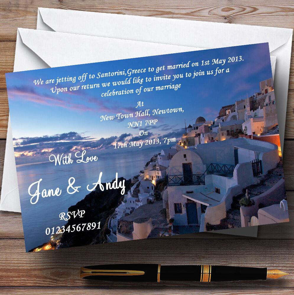 Santorini Grecia Chorro Off casado en el extranjero Personalizado Invitaciones De Boda