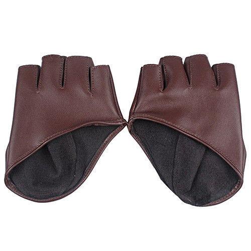 Fashion Creative Women Half Finger PU Leather Fingerless Gloves Show Pole Dance
