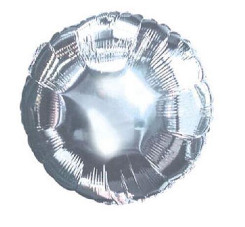 Set 10 Premium Quality Ten 18 Inch Round Mylar Helium Balloons Metallic Silver