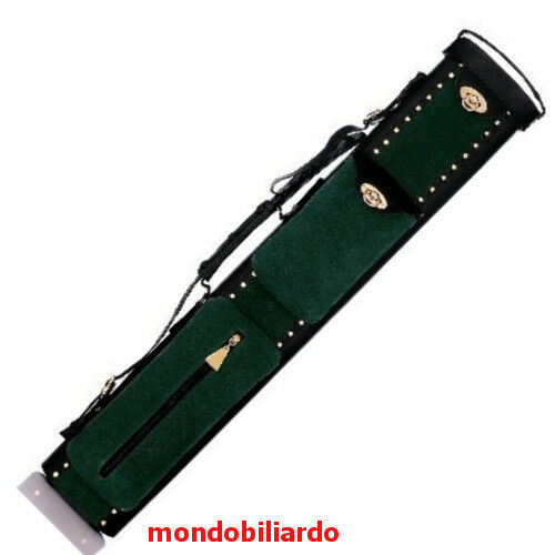 POOL CUE CASE REAL REAL REAL LEATHER -SUEDE- MOD. MILAN 2 BUTTS - 4 SHAFTS  - CUE BILLIARD 5f5d0a