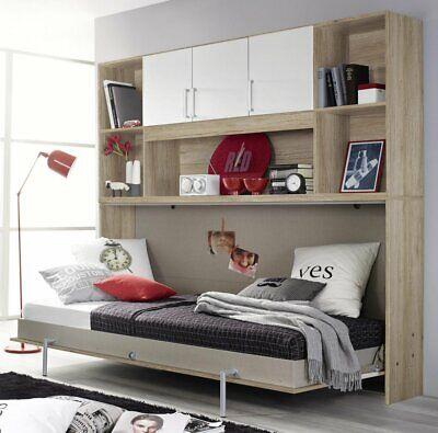 Wandklappbett Bett 90x200 cm mit Regal Überbau Albero in