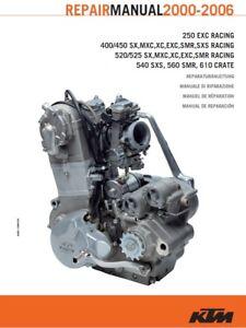 Ktm 400 / 520 engine repair service manual sx exc binder | ebay.