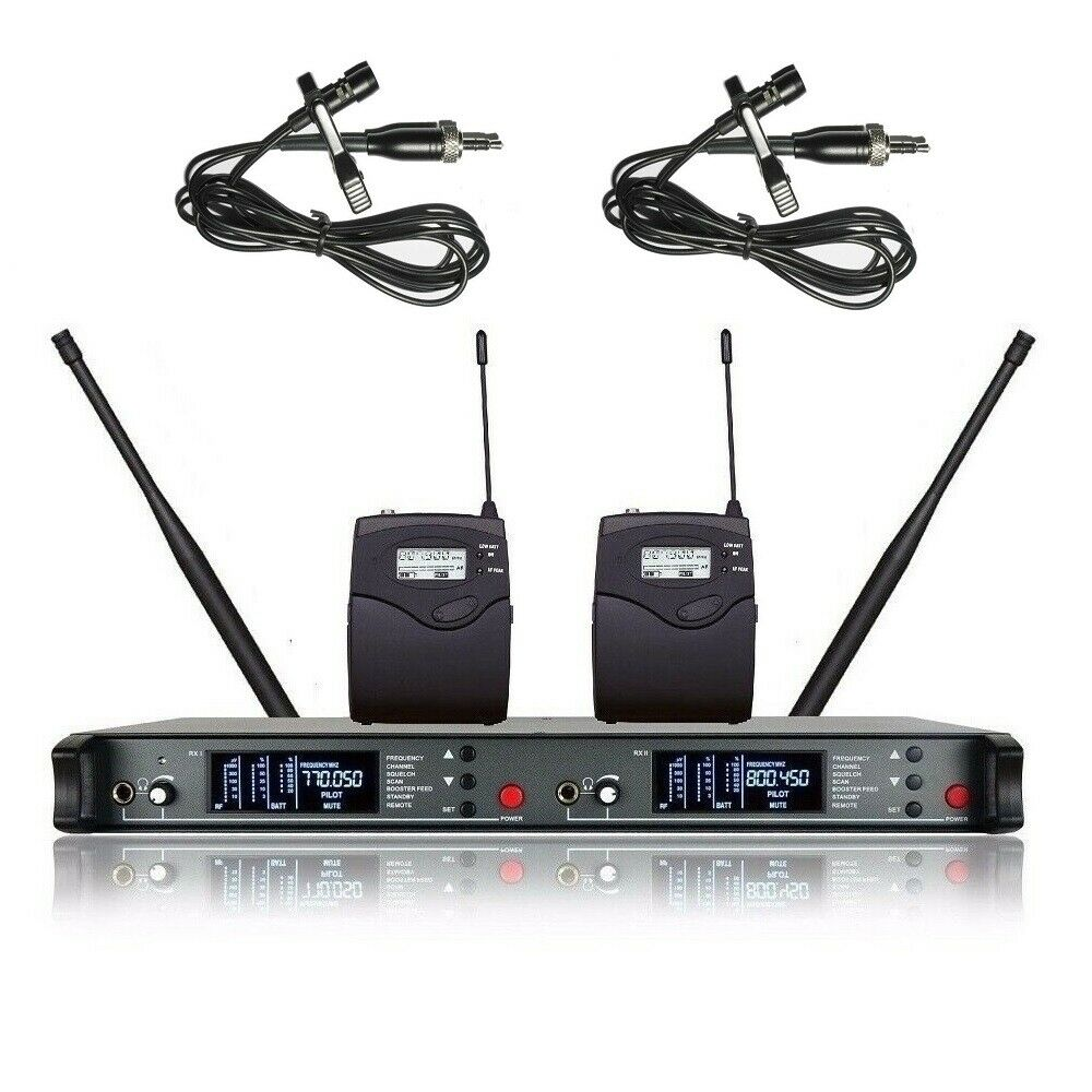 Wireless Dual Microphone Lapel Diversity UHF 200 Channels Theater Microphone mic
