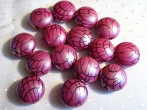 Paquet-de-15-Lentilles-forme-perles-Acrylique-Rose-Lot-de-18-10mm-B922