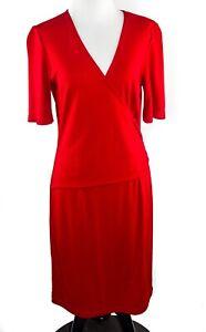 Liz-Claiborne-Women-039-s-Large-Short-Sleeve-V-Neck-Red-Faux-Wrap-Dress