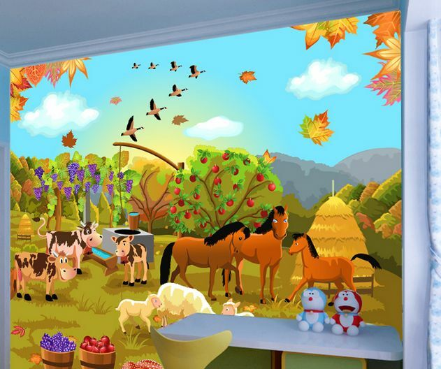 3D Simple Cute Zoo Paper Wall Print Decal Wall Deco Indoor wall Murals