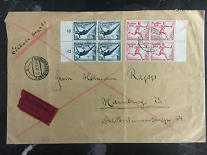 1936-Freiburg-Germany-Oversize-Cover-to-Hamburg-Olympics-Stamps-Express-Mail