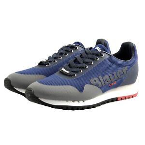 Dettagli su Scarpe sneakers casual Blauer DENVER uomo tessuto blu grigio fondo gomma rialzo