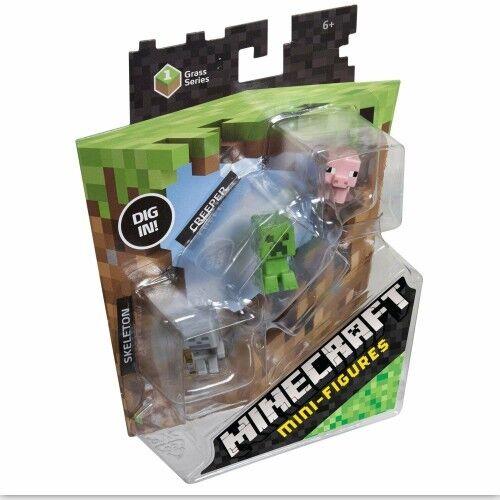 /& Pig. Skeleton Creeper Minecraft Mini-Figures Grass Series