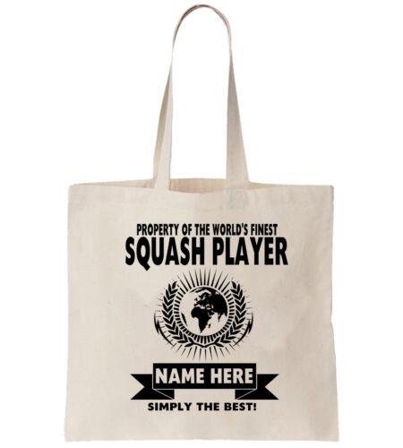 Squash Player Personalised Tote Bag Shopper Thanks Amend Birthday Gift