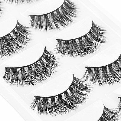 Natural Thick False Fake Eyelashes 5Pairs 100% Mink Eye Lashes Makeup Extension