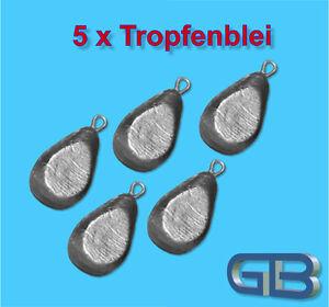 5-x-Tropfenblei-Angelblei-Grundblei-Karpfenblei-30g-50g-70g-80g-mit-Ose