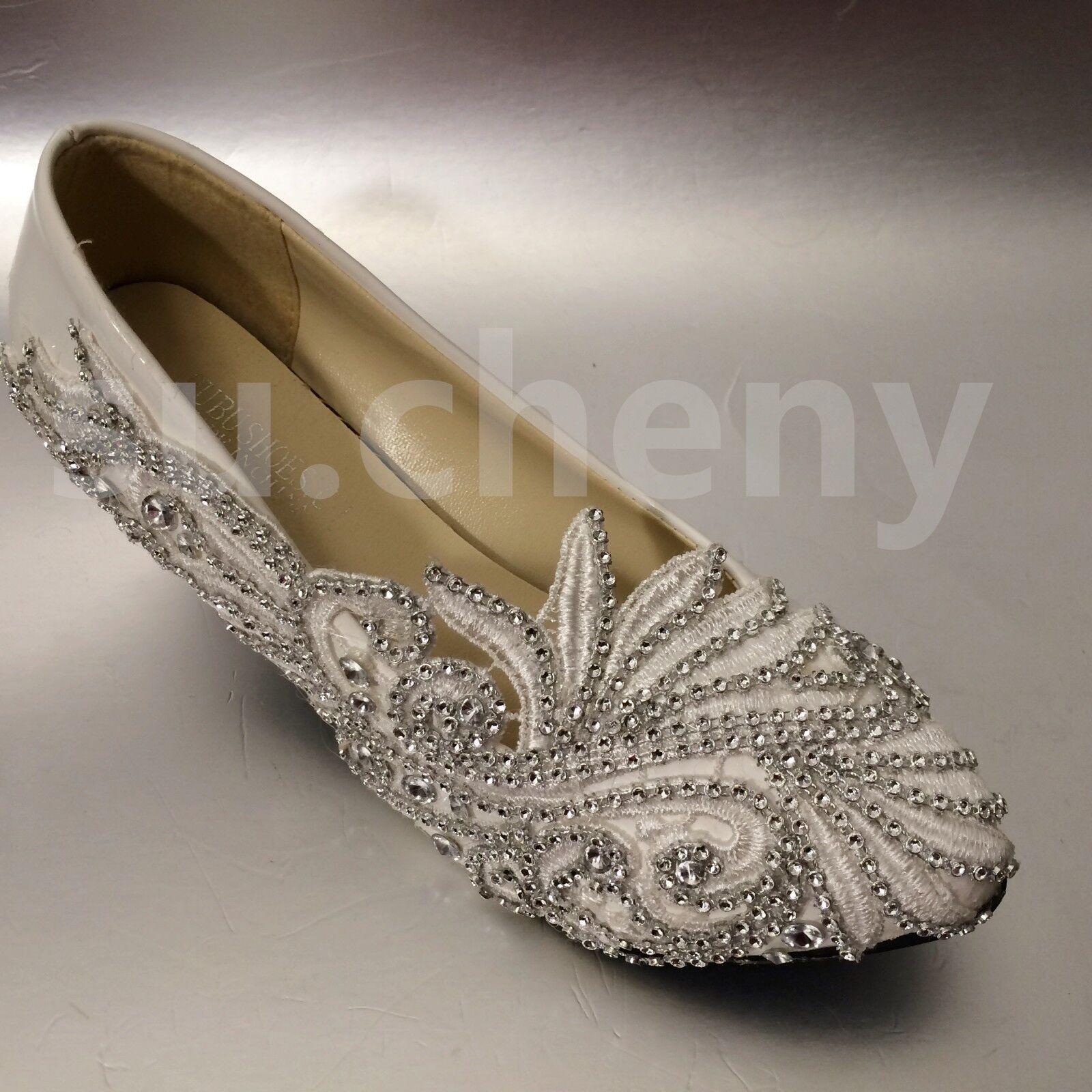 "Su.cheny 2"" 3  4 4 4  Lace blanc light ivory rhinestones Wedding Bridal heels chaussures 0c37b3"