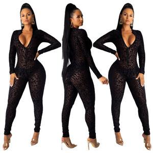 New Women Stylish Long Sleeves V Neck See Through Bodycon Club Jumpsuit 2pcs