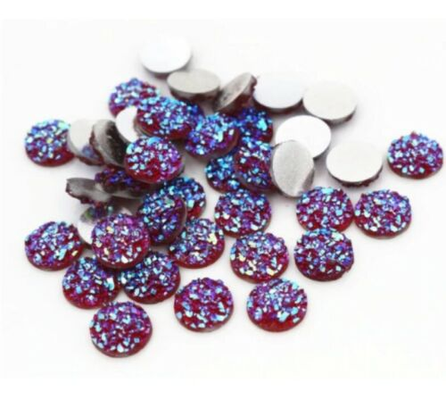 40pcs 8 mm 10 mm Charme Rond Druzy Cabochon Flatback Earring Jewelry Making À faire soi-même