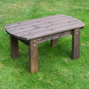 Barrowden Outdoor Wooden Garden Coffee Table Patio Furniture Curved 90cm Ebay