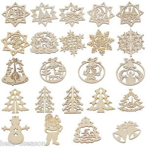 image is loading 3pcs natural wooden christmas ornaments x mas tree - Wooden Christmas Ornaments
