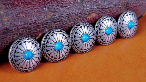 10X Turquoise Flower Leathercraft Western Saddles Wallet Silver Conchos Decor