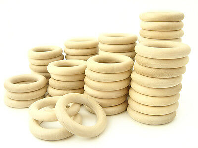 Responsible 50 Pcs. Natural Wooden Organic Teething Rings - 2 1/3 Inches (60 Mm.) Wholesale A Great Variety Of Goods