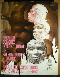 Poster-Signed-by-Raymond-Moretti-Ie-Congress-of-Paleontology-Human-Nice-1982