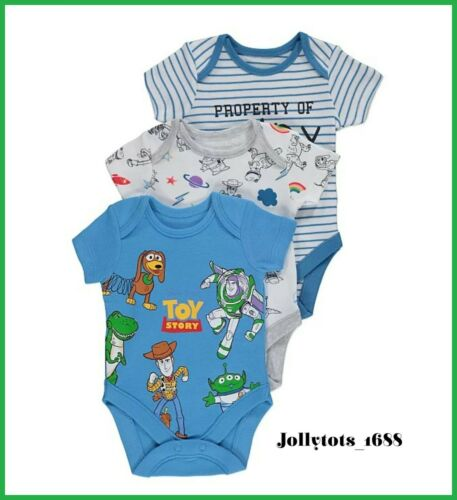 NEW Baby Boys Disney Clothes Toy Story 4 Bodysuit Vests 3 Pack First Size