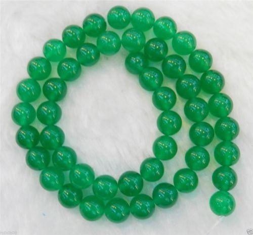 "4mm-8mm  Green Jade Round Gemstone Loose Beads 15/"""