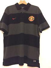 Manchester United Nike Para Hombres Camisa Polo De Algodón Gris Fútbol 2011-12 Talla XXL