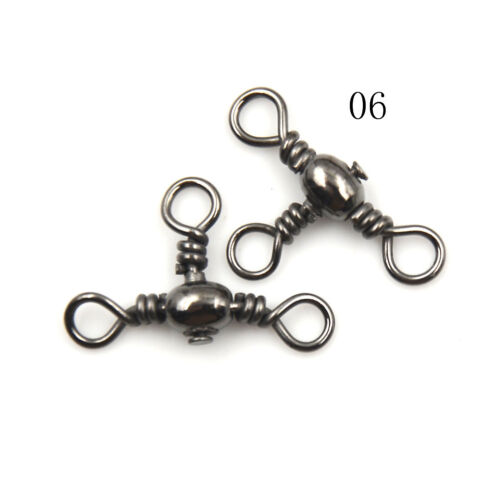 100Pcs 3 Way Rolling Barrel Swivels Solid Rig Ring Fishing Lure Connector JE DD