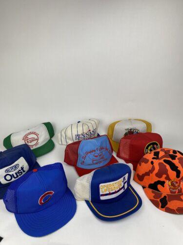 LOT OF 9 VINTAGE TRUCKER HAT CAP SNAPBACK HATS