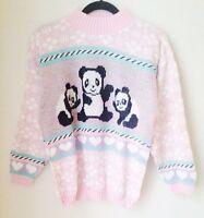 Vintage Panda Sweater Kawaii Pastel Grunge Womens Size Large Deadstock