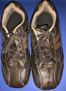 boys sonoma brand casual brown dress shoesworn in good