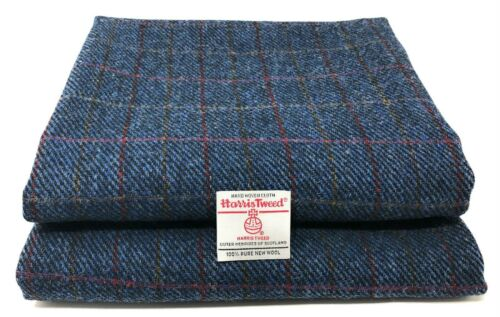 Harris Tweed Blue Herringbone Red Overcheck Fabric and Authenticity Labels