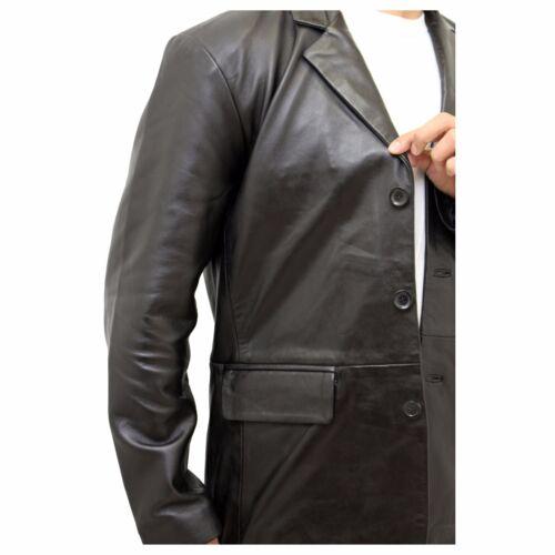 Da Uomo Nera in Pelle Classico Smart Casual montato su misura 3 Pulsante Blazer Jacket