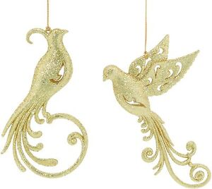 Set-of-2-Gold-Glitter-Birds-Christmas-Tree-Decorations-NEW-19137