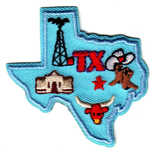 "Longhorn,Alamo /""TX/""-TEXAS STATE SHAPE PATCH Cowboy Iron On Patch//Southwest"