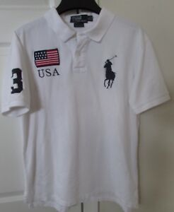 Polo Ralph Lauren  3 Big Horse Logo USA White Polo Shirt Youth XL  5e565ab5c7aa0